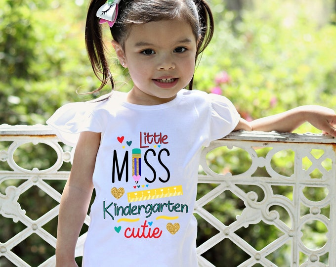 Kindergarten Cutie Shirt Flutter Sleeve First Day of School Black Raglan Kindergarten School Shirt Pencil Ruler Shirt Girl School