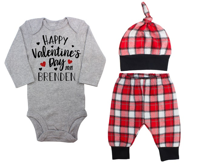 Happy Valentine's Day 2021 Red Glitter Vinyl Personalized Outfit Love Boy Valentines Day Bodysuit Hearts Buffalo Plaid Flannel Pants