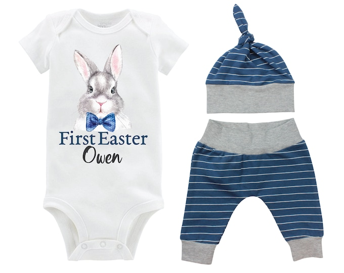 Boy First Easter Outfit Personalized Baby Easter Bunny Bow Tie Going Home Outfit Yoga Pants Navy Gray Stripe Boy Knot Hat Baby Gift
