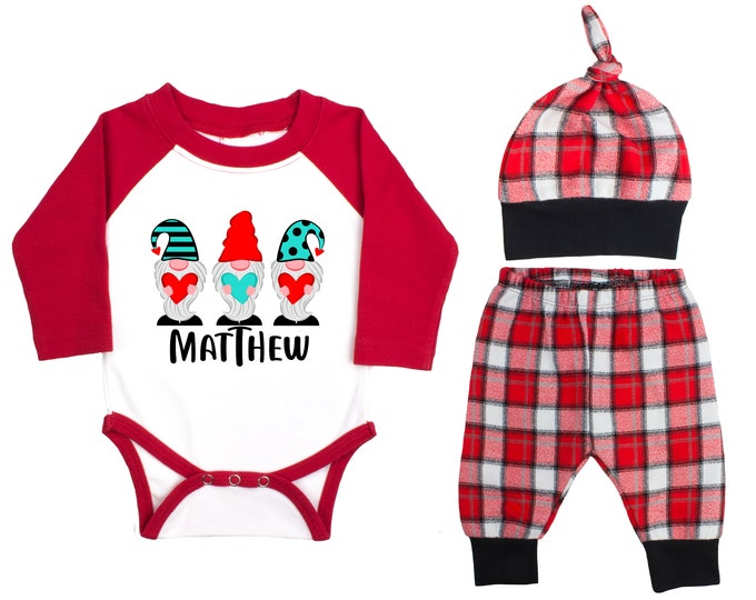 Baby Boy Valentine's Day Heart Gnomes Personalized Raglan Outfit Boy Valentines Day Love Gnome Bodysuit Baby Boy Buffalo Plaid Flannel Pants