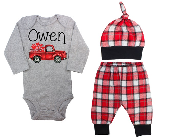 Baby Boy Valentine's Day Heart Truck Personalized Outfit Boy Valentines Day Bodysuit Hearts Vintage Truck Buffalo Plaid Flannel Pants