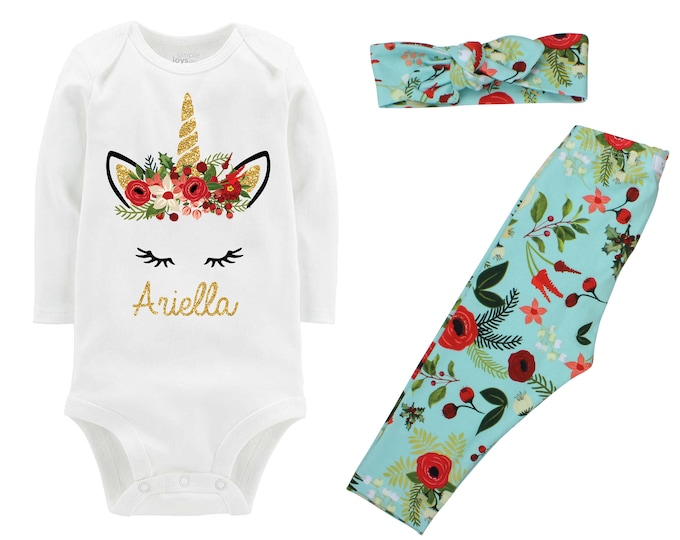 Floral Christmas Unicorn Outfit Personalized Aqua Christmas Floral Leggings Gold Sparkle Holly Berries Bodysuit Knot Headband Leggings