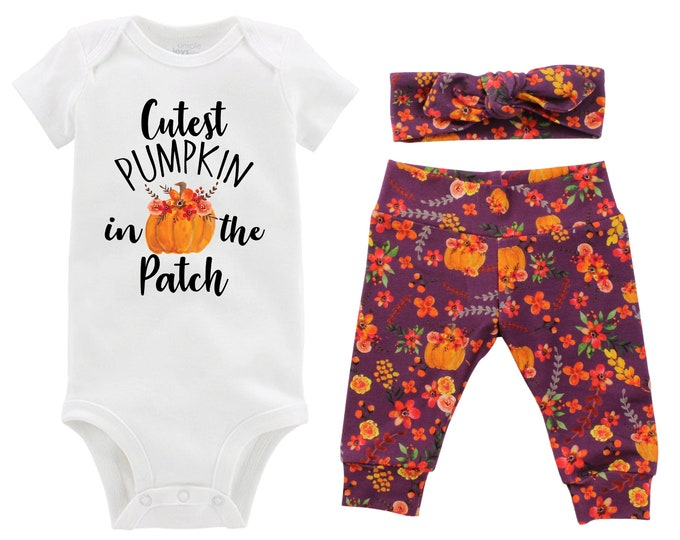 Girl Cutest Pumpkin in the Patch Outfit Mauve Watercolor Floral Yoga Leggings Headband Infant Fall Outfit Floral Pumpkin Orange Baby Infant