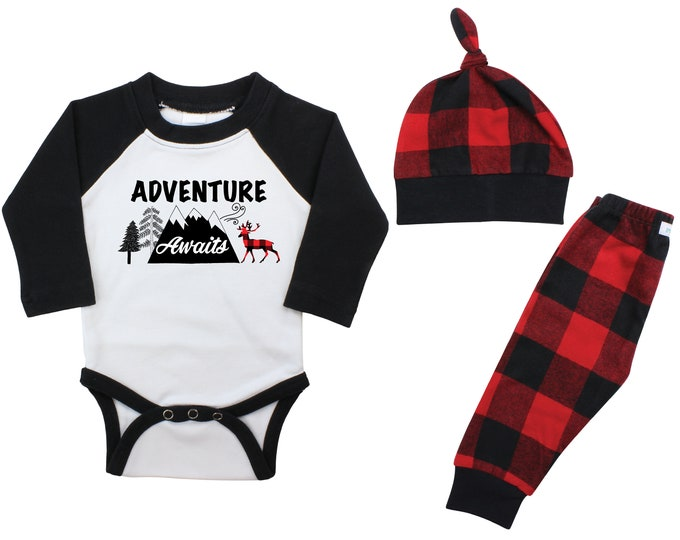 Adventure Awaits Boy Raglan Outfit Buffalo Plaid Pants Fall Winter Baby Outfit Boy Outfit Red Black Buffalo Plaid Deer Mountains Outdoors