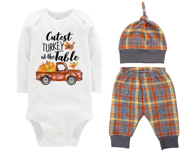 Boy First Thanksgiving Outfit Fall Baby Outfit Fall Plaid Pants Knot Hat Turkey Pumpkins Old Truck Orange Gray Pants Boyish Thanksgiving