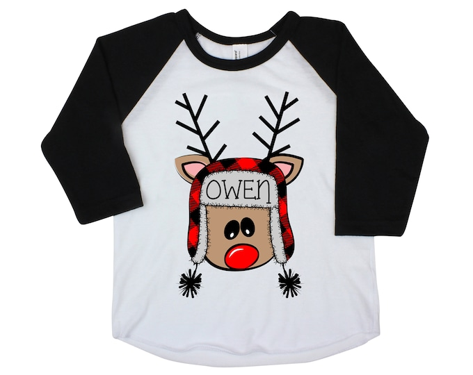 Boy Christmas Reindeer Personalized Raglan Buffalo Plaid Reindeer with Name Crazy Reindeer Boy Christmas Shirt Holiday Shirt Winter Funny