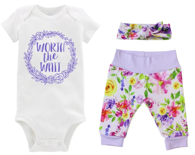 Girl Worth the Wait Going Home Outfit Newborn Baby Infant Set Watercolor Floral Yoga Leggings Headband Infertility Gift Set Baby Shower Gift