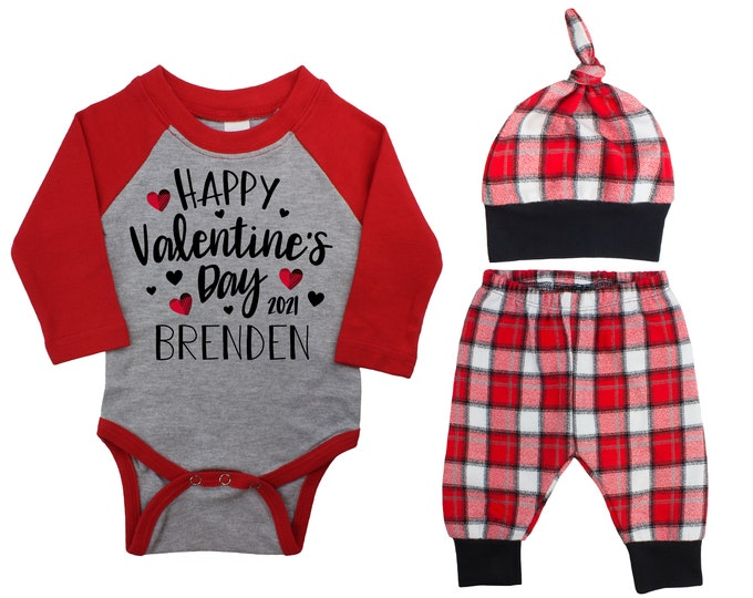 Happy Valentine's Day 2021 Plaid Hearts Personalized Raglan Outfit Love Boy Valentines Day Bodysuit Hearts Buffalo Plaid Flannel Pants