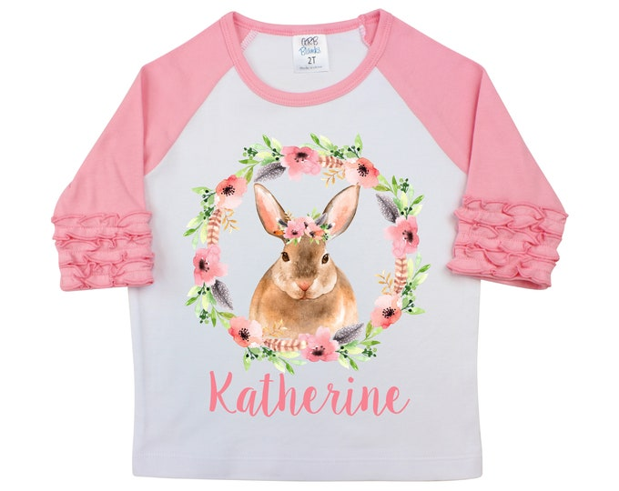 Girl Easter Shirt Watercolor Bunny Woodland Bunny Floral Personalized Ruffle Raglan Easter Shirt Bodysuit Flutter Sleeve Girl Shirt Monogram