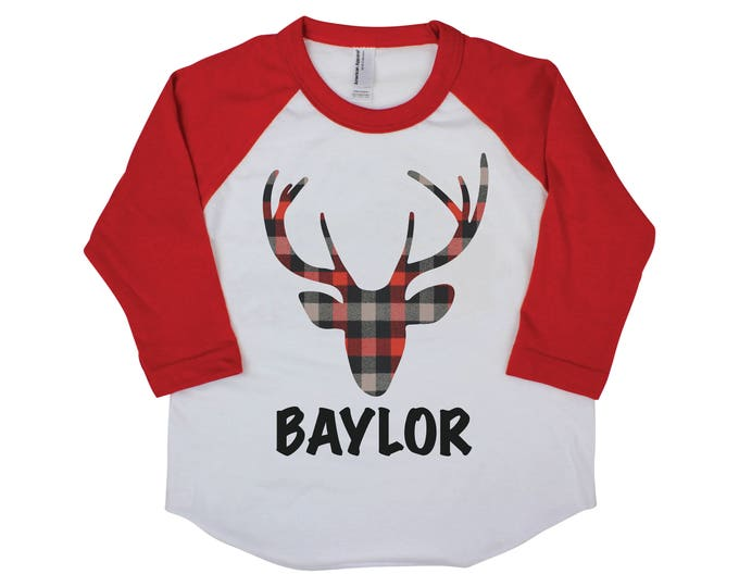 Plaid Deer Shirt Personalized Boy Shirt Buffalo Plaid Deer Boy Baby Shirt Boy Baby Onesie Boy Bodysuit Boy Raglan Shirt Red Plaid Shirt