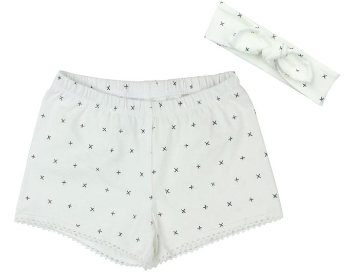 Girls Shorts Baby Shorts Lace Trimmed Shorts Baby Headband White Symbols Cute Girl Pattern Child American Made Handmade Girl Baby Clothing