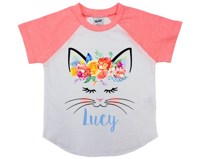 Watercolor Floral Cat Face Shirt Personalized Name Shirt Sleepy Kitty Cat Face Raglan Shirt Coral Yellow Flowers Birthday