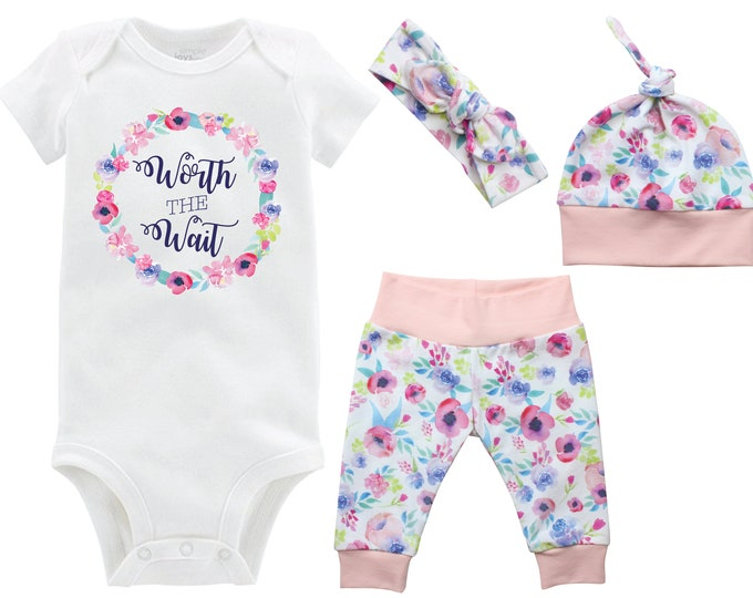 Worth the Wait Onesie Girl Coming Home Set Onesie Infant Outfit Watercolor Floral Yoga Leggings Top Knot Hat Headband Infertility Onesie