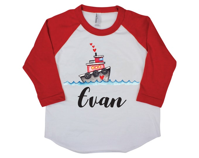 Boy Valentine's Day Shirt Tug Boat Hearts Raglan Boat on Water Boy Toddler Baby Shirt Red Black Boy Valentine Shirt Hearts Kids