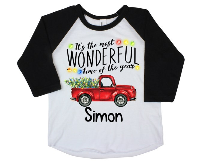 It's the Most Wonderful Time of the Year Boy Christmas Shirt Red Truck Christmas Lights Tree Personalized Buffalo Plaid Raglan Old Red Truck