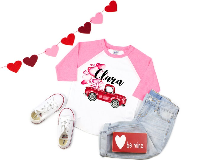 Girl Valentine's Day Shirt Truck with Balloons Personalized Name Shirt Valentine Truck Raglan Shirt for a Girl Monogram Hearts