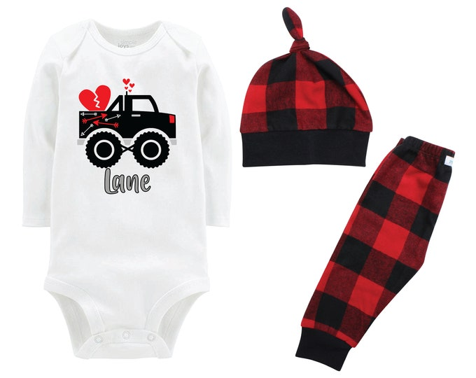 Boy Valentine's Day Outfit Monster Truck Personalized Red Black Buffalo Plaid Pants Hat Boyish Valentine Bodysuit Hearts Valentine