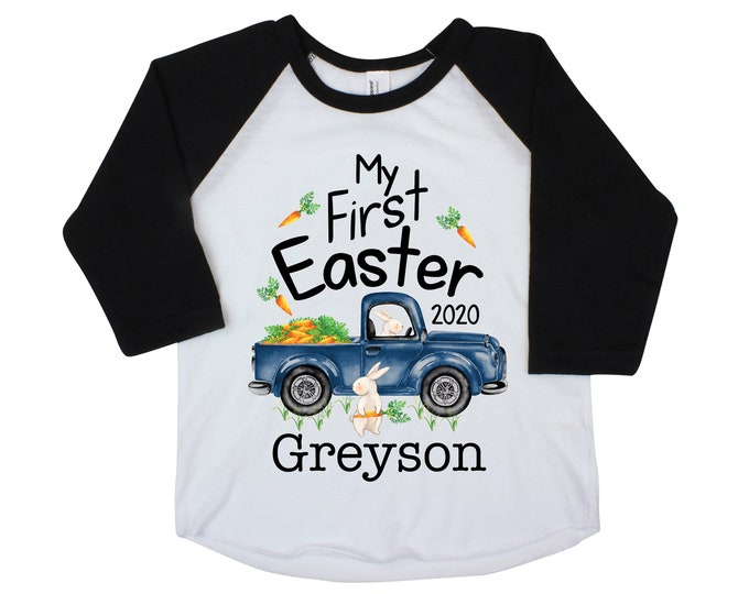 Boy First Easter Shirt My First Easter Bunny Truck Shirt Bodysuit Raglan Personalized Baby Easter Onesie Easter Carrots Bunny Name Shirt