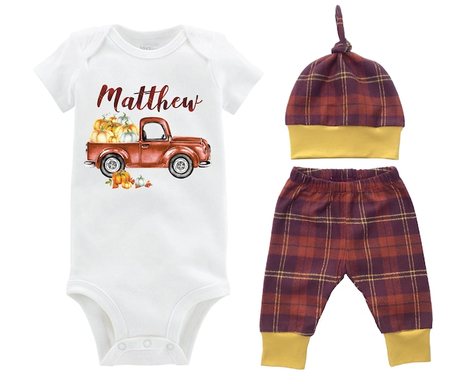 Fall Boy Pumpkin Truck Shirt Outfit Mustard Orange Fall Plaid Personalized Pumpkin Onesie Bodysuit Pants Leggings Baby Gift Top Knot Hat Boy