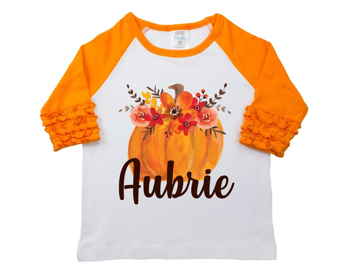 Fall Floral Pumpkin Shirt Monogram Name Personalized Watercolor Floral Girl Shirt Orange Red Girly Pumpkin Halloween Thanksgiving