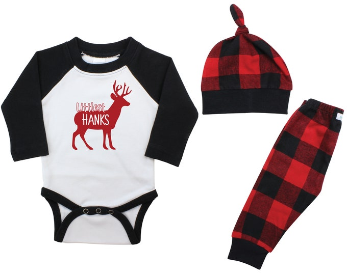 Boy Littlest Christmas Deer Personalized Last Name Raglan Outfit Boy Christmas Bodysuit Buffalo Flannel Pants Winter Boy Red Buffalo Plaid