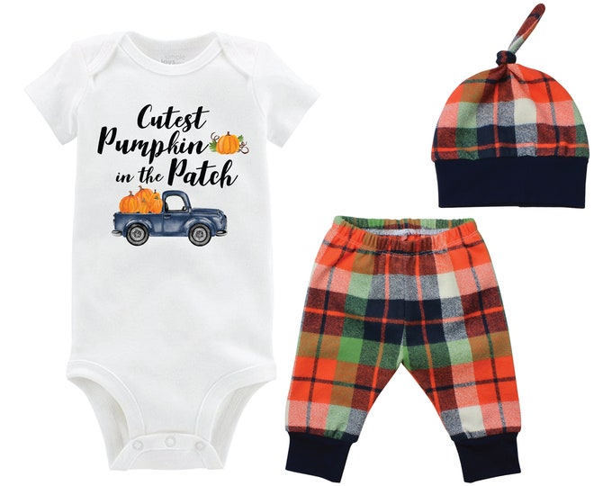 Fall Boy Cutest Pumpkin in the Patch Bodysuit Fall Baby Outfit Boy Pumpkin Outfit Fall Plaid Pants Leggings Baby Gift Top Knot Hat Boy