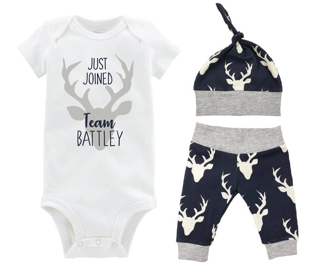 Boy Deer Just Joined Team Last Name Personalized Coming Home Outfit Gray Navy Onesie Bodysuit Infant Gift Going Home Set Baby Shower Gift