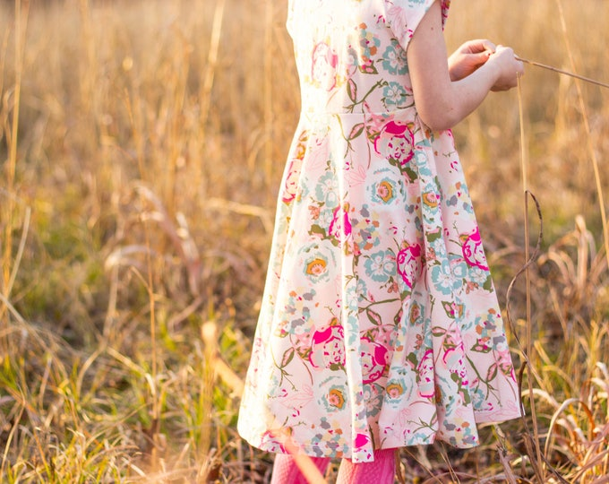 Easter Dress Spring Dress Twirly Easter Dress Toddler Dress Girl Dress Summer Dress Pink and White Dress Short Sleeve Twirly Knit Dress