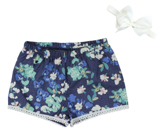 Girls Denim Shorts Baby Shorts Lace Trimmed Shorts Baby Bow Denim Lace Ribbon Floral Print Child American Made Handmade Girl Baby Clothing
