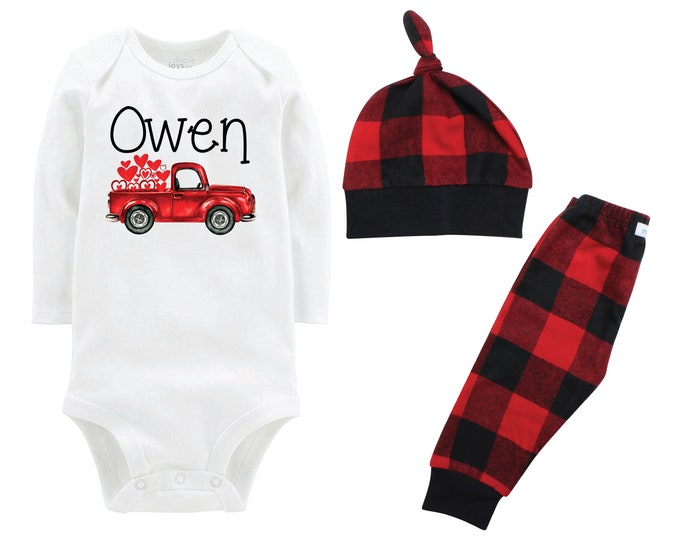 Boy Valentine's Day Outfit Personalized Old Red Truck Buffalo Plaid Pants Hat Boyish Valentine Bodysuit Hearts Valentine Truck with Hearts