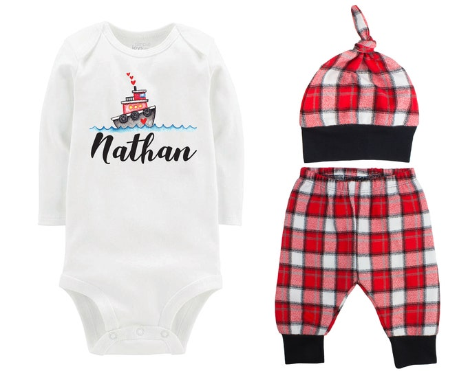 Baby Boy Valentine's Day Tug Boat Personalized Outfit Boy Valentines Day Love Hearts Bodysuit Baby Boy Buffalo Plaid Flannel Pants
