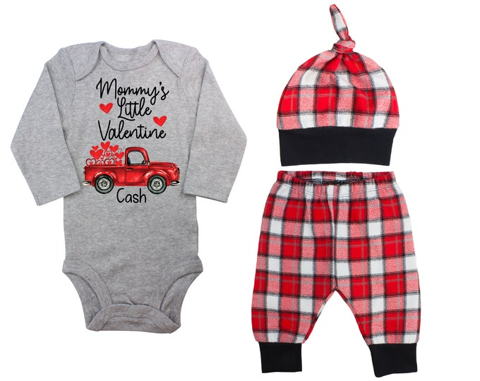 Mommy's Little Valentine Day Truck Personalized Outfit Boy Valentines Day Bodysuit Hearts Vintage Truck Buffalo Plaid Flannel Pants