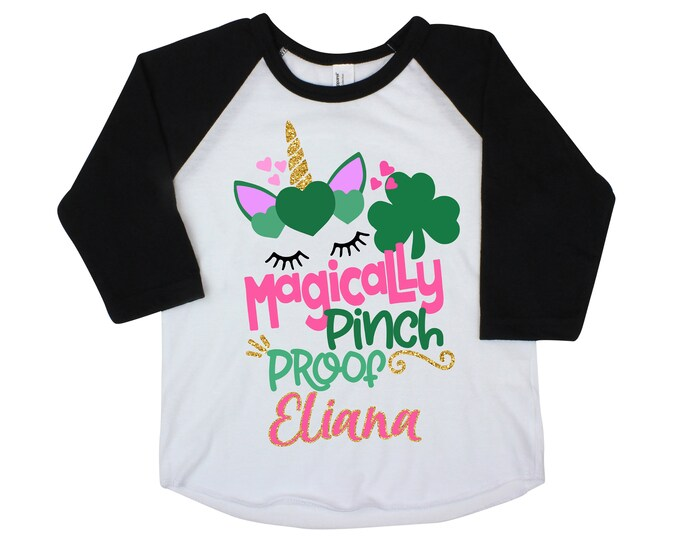 Magically Pinch Proof Unicorn Girl St. Patrick's Day Shirt Personalized Name Shirt St. Patty's Day Clover Raglan Pink Green Saint