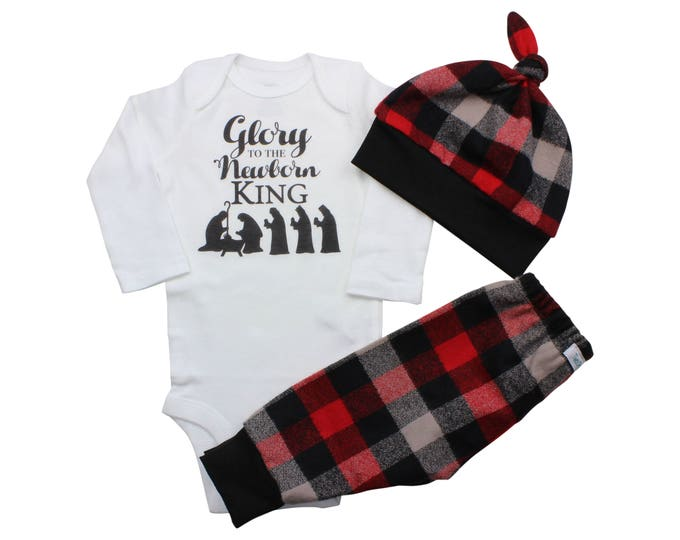 Glory to the New Born King Bodysuit Buffalo Plaid Pants Winter Baby Outfit Boy Red Black Buffalo Plaid Jesus is the Reason Faith Outfit