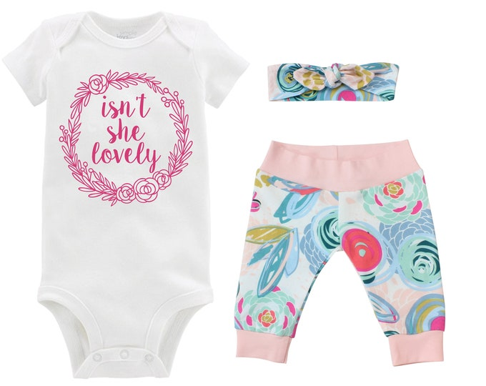 Isn't She Lovely Girl Going Home Outfit Newborn Baby Infant Set Floral Yoga Leggings Headband Blue Pink Floral Infant Gift Set