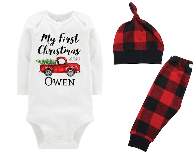 Boy My First Christmas 2020 Outfit Personalized Old Red Truck Christmas Tree Bodysuit Buffalo Flannel Pants Winter Boy Red Black Plaid Pants