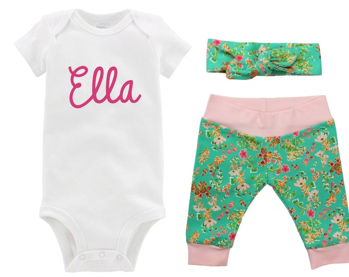 Personalized Newborn Going Home Outfit Girl Baby Name Set Pink Floral Yoga Leggings Knot Headband Pink Green Flower Infant Gift Set Monogram