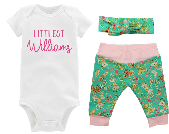 Girl Going Home Newborn Outfit Littlest Last Name Baby Infant Set Green Pink Floral Yoga Leggings Knot Headband Green Flower Infant Gift Set