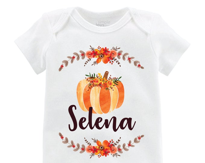 Fall Pumpkin Flutter Shirt Personalized Bodysuit Flutter Sleeve Black Raglan Birthday Shirt Girl Shirt Monogram Watercolor Pumpkin Floral