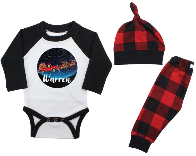 Boy Santa Reindeer Truck In Starry Sky Personalized Christmas Raglan Outfit Bodysuit Buffalo Flannel Pants Winter Boy Red Buffalo Plaid