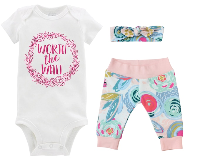 Worth the Wait Girl Going Home Outfit Newborn Baby Infant Set Floral Wreath Yoga Leggings Headband Infertility Gift Set Baby Shower Gift