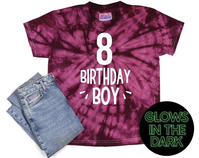 Birthday Boy Tie Dye Glow in the Dark Shirt Maroon Spider Age Birthday Party Shirt Boy Birthday Burgundy Spiral Year Unisex Tie Dye T-Shirt
