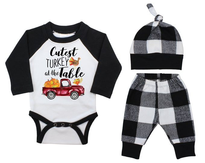 Boy Cutest Turkey At The Table Thanksgiving Outfit Fall Baby Raglan Outfit Fall Pants Knot Hat Pumpkins Black White Plaid Baby Bodysuit
