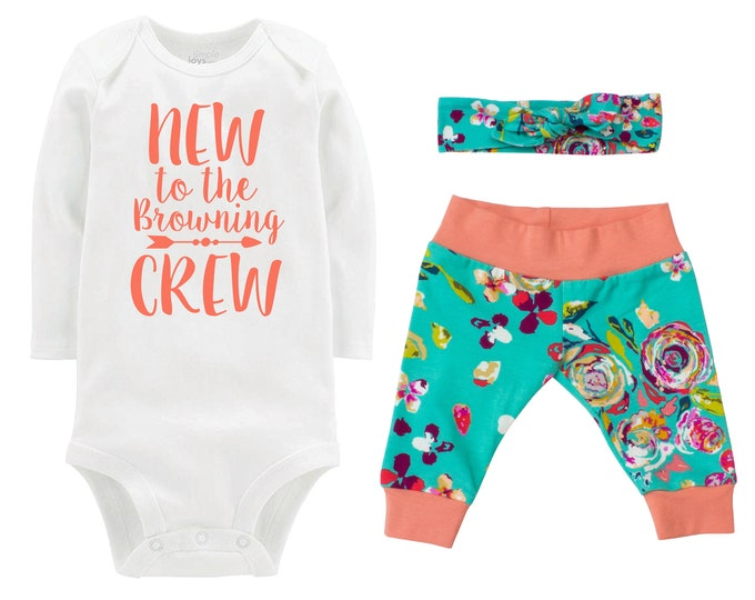 Girl Going Home Outfit New to the Crew Newborn Infant Set Fall Teal Plum Floral Yoga Leggings Headband Arrow Teal Floral Infant Gift Set