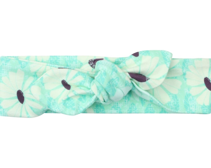 Mint Daisy Baby Top Knot Headband Mint Adult Knot Headband Baby Headwrap Adult Headwrap Knotted Headband Knotted Headwrap Mint Daisy