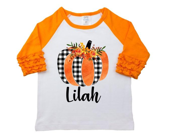 Fall Floral Gingham Pumpkin Shirt Monogram Name Personalized Watercolor Floral Girl Shirt Orange Black Girly Pumpkin Halloween Thanksgiving