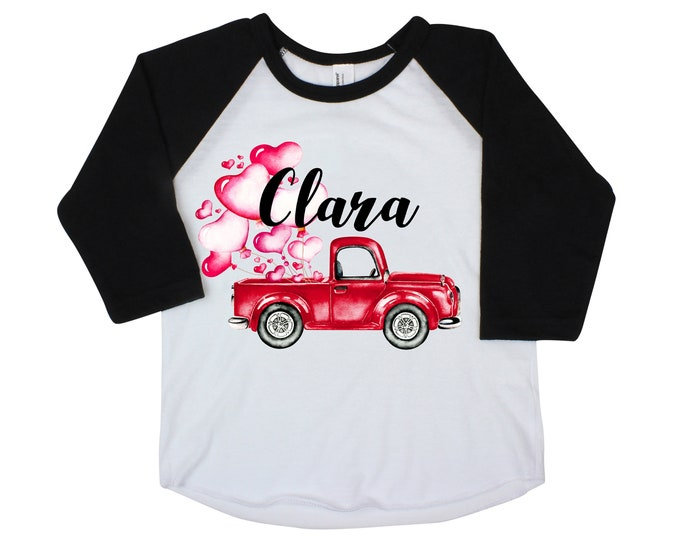 Valentine's Day Truck and Heart Balloon Shirt Personalized Name Pink Truck and Balloons Watercolor Monogram Girl or Boy Unisex Valentine