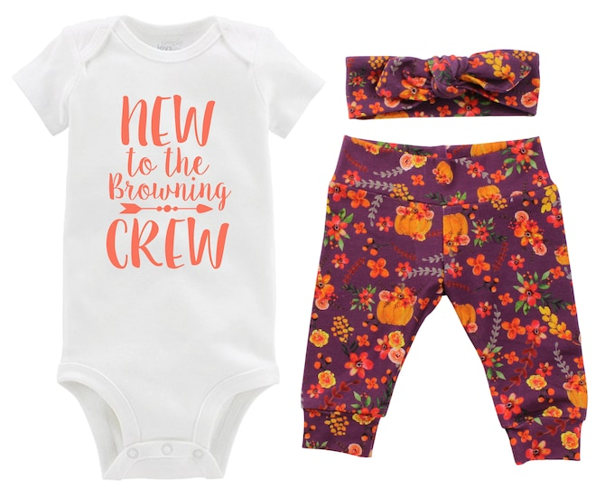 Fall New to the Crew Personalized Going Home Outfit Mauve Watercolor Floral Yoga Leggings Headband Infant Outfit Floral Pumpkin Last Name