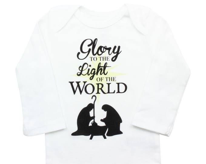 Glory to the Light of the World Christmas Bodysuit Boy Christmas Outfit Unisex Christmas Faith Christmas Jesus is the Reason