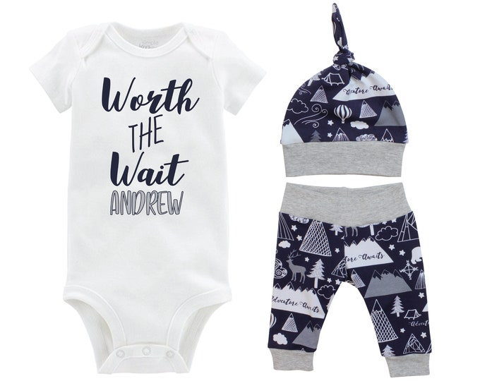 Boy Worth the Wait Going Home Outfit Yoga Pants Personalized Navy Gray Adventure Mountains Bear Deer Coming Home Top Knot Hat Newborn Baby